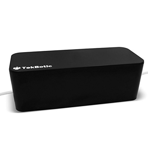 [tekbotic Large Cable Management Box : Black, 16 inch - Office Organizer to hide Power Strips - Extra Large Cable Box] (Black Box Power Strip)