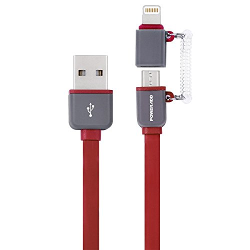 ed iPhone Charger, 3.3ft 2 in 1 iPhone Micro USB Cable 8 Pin Apple USB Charging Cord for iPhone iPad, Samsung Galaxy, Huawei and Other Android Phones Tablets-red ()