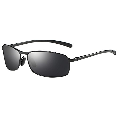 ZHILE Rectangular Polarized Sunglasses Al-Mg Alloy Temple Spring Hinge UV400 (Black, Grey with AR COATING)