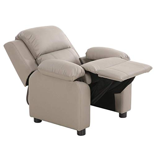 Costzon Kids Recliner Sofa, Children Contemporary PU Leather Armchair W/Deluxe Padded Backrest Flip-up Storage Arms for Toddler Boys Girls, Small Sofa Chair (Gray)