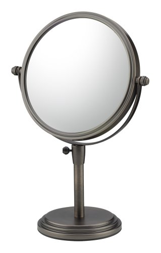 Mirror Image 81715 Classic Adjustable Vanity Mirror, 7.75-Inch Diameter, 1X and 5X Magnification, Italian Bronze