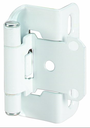 Amerock BPR7550W Self-Closing, Partial Wrap Hinge with 1/2in(13mm) Overlay - White