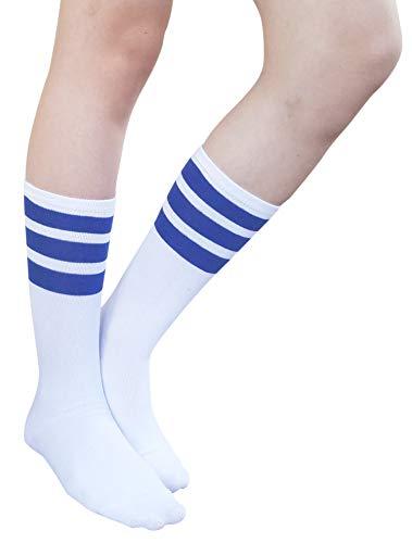 AM Landen Super Cute Mid-Calf Socks White with Blue Stripe Women's Casual Knee High Tube Socks Triple Stripe