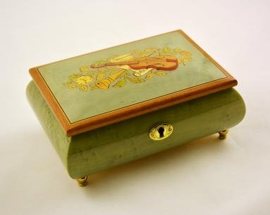 Amazing Music Box Made In Italy Sorrento Traditional Violin Inlay, Light Blue - Music Box Dancer (Sankyo 18 Note)