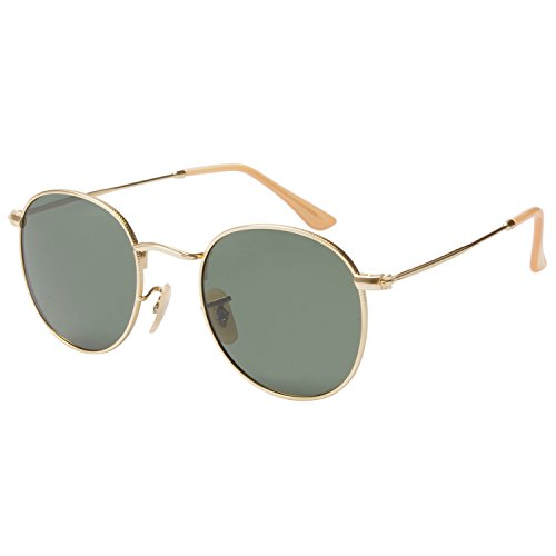 ZHILE Lennon Vintage Style Round Sunglasses with Polarized Lens 51mm (Gold frame Green lens)