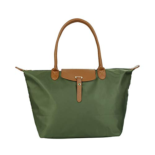 - GISTE Women Fashion Nylon Travel with Waterproof Beach Shoulder Tote Bag (Army Green)