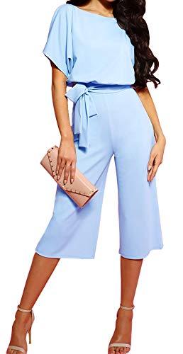 BTFBM Women Short Sleeve Plain Casual Party Loose Fit Wide Leg Pant Jumpsuit Romper with Belt (Style 2 - Light Blue, X-Large)