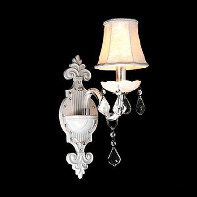 QIANG Splendid European Style Wall Sconce in All White Adorned with Faceted Crystal Drops and Delicate Canopy (Faceted White Crystal)