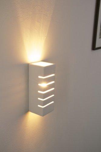Applique lampada da parete design rettangolare gesso bianco ...