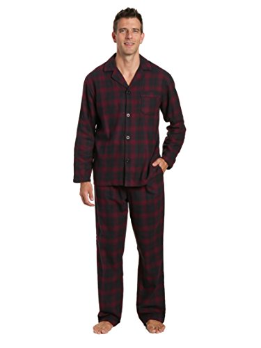 Noble Mount Men's 100% Cotton Flannel Pajama Set - Plaid Fig-Black - Large