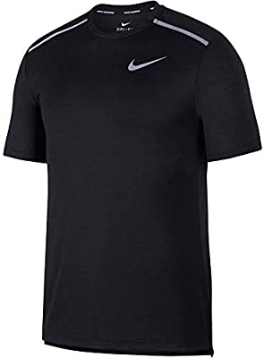 NIKE Dri-Fit Miler Camiseta, Hombre, Black/Reflective silv, L/T: Amazon.es: Deportes y aire libre