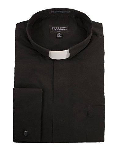Ferrecci 3XL19.5 34-35 Mens Black Clergy Shirt - Half Tab