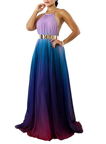 - IyMoo Beach Dresses for Women Sexy Chiffon Sundress Tie Dye Dresses for Women Halter Neck Backless Long Boho Print Beach Dresses Blue