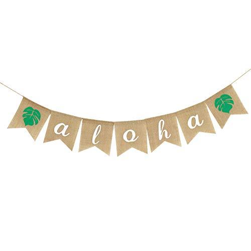 Aloha Banner Burlap, Aloha Banner Decoration for Hawaiian Tropical Luau Party Decoration Supplies -