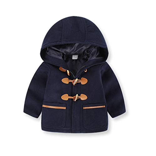 Moonker Baby Coat 2-6 Years Old,Toddler Boys Girls Kids Winter Hooded Thick Warm Clothes Trench Jacket Double Breasted (1-2 Years Old, Navy)