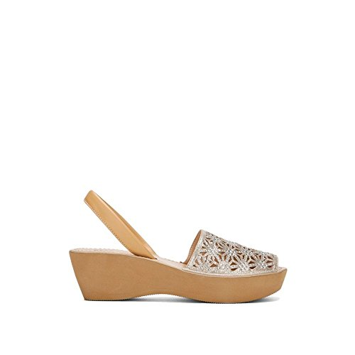 Kenneth Cole Reaction Women Shoes - Kenneth Cole REACTION Women's Shine Far Platform Slingback Wedge Sandal, Soft Gold, 9 M US