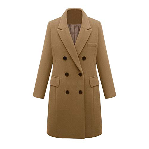 COPPEN Womens Outwear Winter Lapel Wool Coat Trench Jacket Long Parka Overcoat