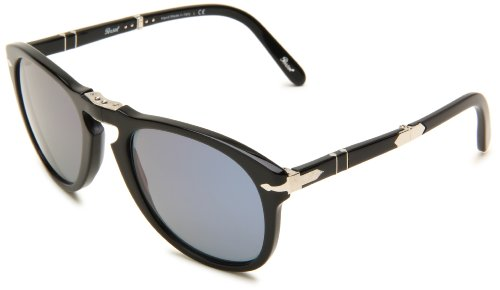 Persol Men's 0PO0714SM 95/56 54 Aviator Sunglasses,Black Frame/Blue Lens,One - Persol 714