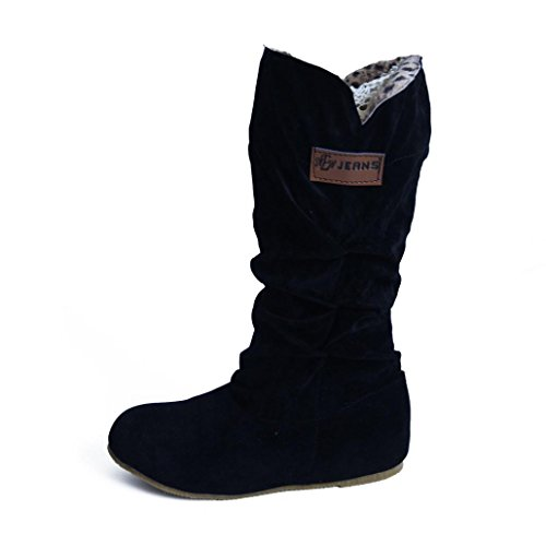 Anshinto Woman Knee High Boots Flat Heel Nubuck Motorcycle Boot Autumn Winter Shoes (40, Black) ()