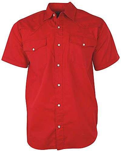 (Men's Short Sleeve Solid Western Shirt | Pearl Snap Front (X-Large, Red) )