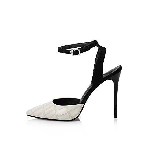 Color verano NAN tacón beige alto Zapatos tacón y Sandalias 01 Tamaño correas de 02 de EU35 de ajustables trabajo mujer fina UK3 rosa CN34 Cómodo bodas de aguja de rwrz1xIBq