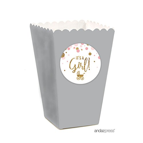 Andaz Press Blush Pink Gold Glitter Girl Baby Shower Party Collection, Popcorn Box DIY Party Favors Kit, 24-Pack