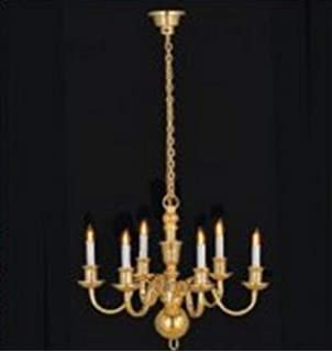 Casa De Muñecas Candelabro de latón lámpara de mesa 1:24 escala eléctrico en miniatura accesorios