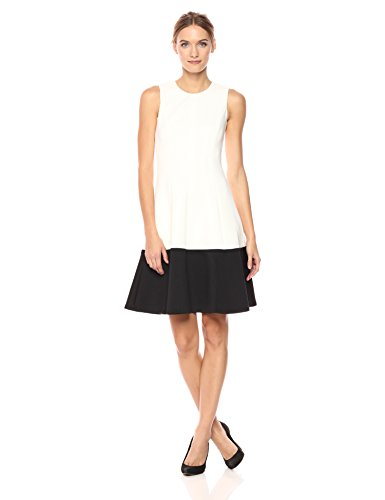 Calvin Klein Women's Color Block Fit and Flare Dress, Black/Cream, 4 by Calvin Klein