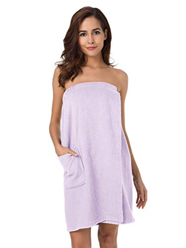 SIORO Bath Wrap for Women, Bamboo Cotton Body Towel Wraps Spa Shower Bathrobes with Adjustable Closure & Pockets,Lilac XL