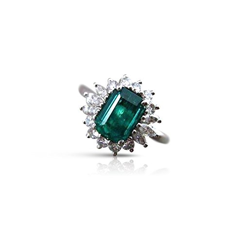 Milano Jewelers 1.90CT DIAMOND & AAA COLOMBIAN EMERALD PLATINUM ENGAGEMENT RING #22258 ()