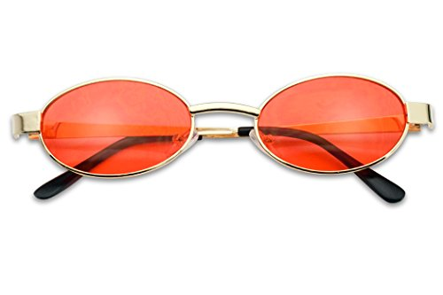 Small 1990's Retro Narrow Oval Color Tinted Sunglasses Slim Metal Shades (Gold Frame | Red) -