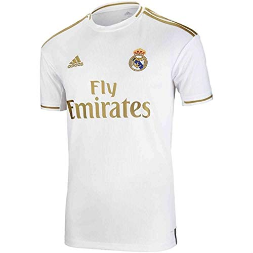 Real Madrid Home Jersey 2019-2020 Football Soccer T-Shirt 19-20 (Large) White/Gold