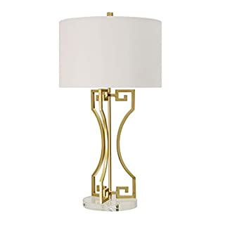 Golden Greek Gold Table Lamp - Brussels White Shade Modern Contemporary