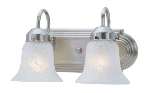 Livex Lighting 1072-91 Home Basics 2 Light Vanity Brushed Nickel with White Alabaster Glass