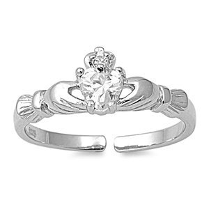 7MM Italian .925 Sterling Silver CLEAR APRIL BIRTHSTONE CLADDAGH Summer Flip-Flops Sandal Toe Ring (One-Size-Fit-All)