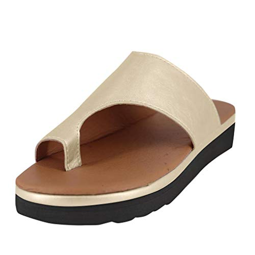 (FengGa Womens Wedges Flip Flops Fashion Flat Open Toe Ankle Summer Breathable Ladies Beach Shoes Roman Sandals Slippers Gold)