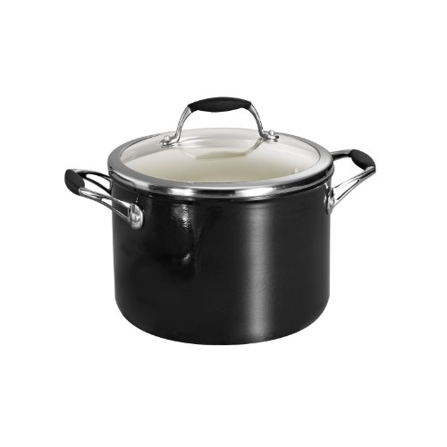 Tramontina 80110/027DS Gourmet Ceramica Deluxe Covered Stock Pot, PFOA- PTFE- Lead and Cadmium-Free Ceramic Interior, 6-Quart, Metallic Black, Made in Italy