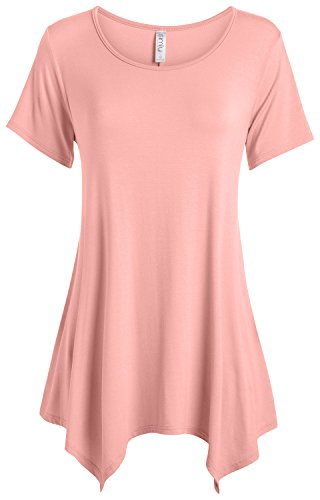 Simlu Pink Dusty Tunic Tops Womens Reg and Plus Size Short Sleeve Tunic for Leggings,Medium
