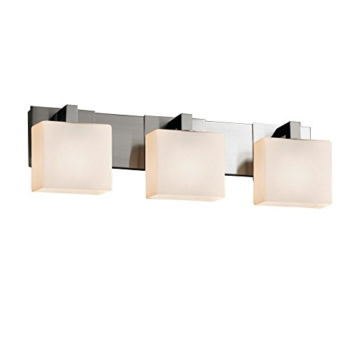 Justice Design Group Lighting FSN-8923-55-MROR-DBRZ Justice Design Group - Fusion - Modular 3-Light Bath bar - Rectangle - Dark Bronze Finish with Mercury Glass Shade, - Light Modular Bath Bar
