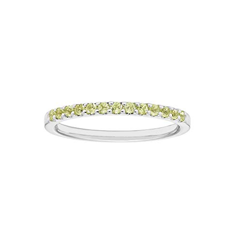 Band Peridot Ring - 14K White Gold 1/4 Cttw Genuine Peridot Stackable 2MM Wedding Anniversary Band Ring - August Birthstone, Size 7