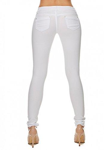 Donna Skinny Tubo Treggings Hosen Tubi Arizonashopping D1701 Jeans Bianco Hipsters PqI5TO