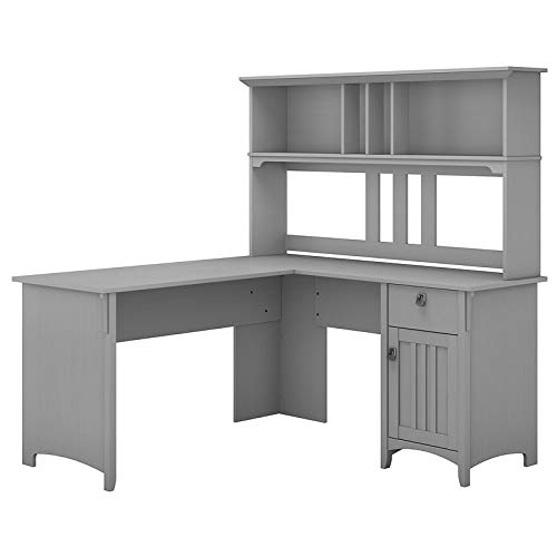 Bush Furniture Salinas 60W L Shaped Desk with Hutch in Cape Cod Gray