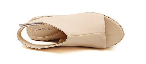 Chfso Womens Mode Kilar Delad Tå Kardborrband Fotled Hög Sele Tillbaka Höga Klackar Plattform Sandaler Aprikos