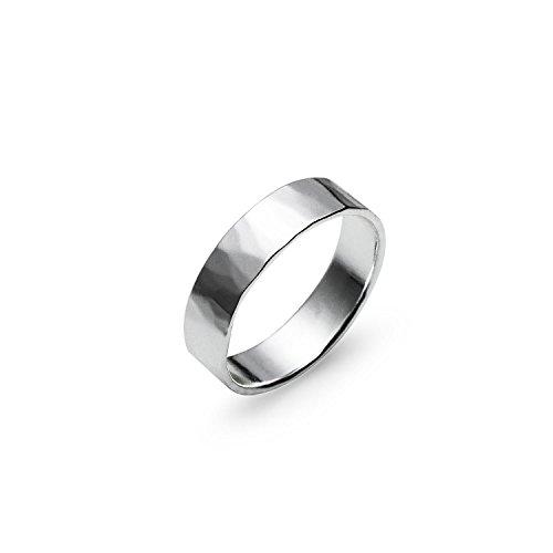 Hammered Polish Plain Comfort Fit Wedding Band Ring Sterling Silver, Size (Hammered Comfort Fit Wedding Band)