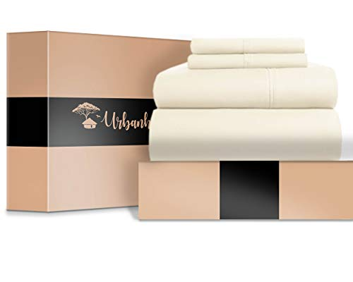 URBANHUT Egyptian Cotton Sheets Set (4 Piece) 700 Thread Count - Bedspread Deep Pocket Premium Bedding Set, Luxury Bed Sheets for Hotel Collection Sateen Weave (Ivory, California King)