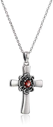 ".925 Sterling Silver Cross Pendant with Garnet and Oxidized Celtic Knot on 18"" Rolo Chain Necklace - January Birthstone"
