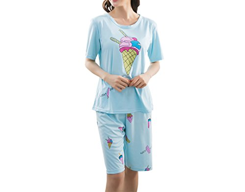 Dress Sleepy Organic (Vopmocld Big Girls' Cute Sleepy Cats Pajama Sets Summer Ice Cream Sleepwear 2PCS)
