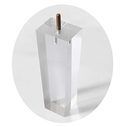 Replacement Legs Square Acrylic Sofa Feet 8 inch Stand legs for Bed Side Table Night Table Cupboard Antique Modern Furniture Decor Clear Glass Pack of 4 For Sale