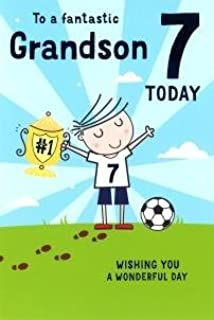 Grandsons 7th birthday card 7 today little boy dressed as for a special grandson on your 7th birthday card 7832 cg m4hsunfo