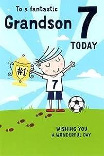 Grandson 7th birthday card badge 7 today boy skateboard big for a special grandson on your 7th birthday card 7832 cg m4hsunfo